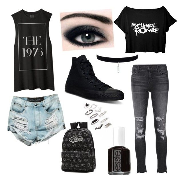 """Blacker Than Black"" by madison-rose-cleary on Polyvore featuring Topshop, J Brand, Converse, Essie and Vans"
