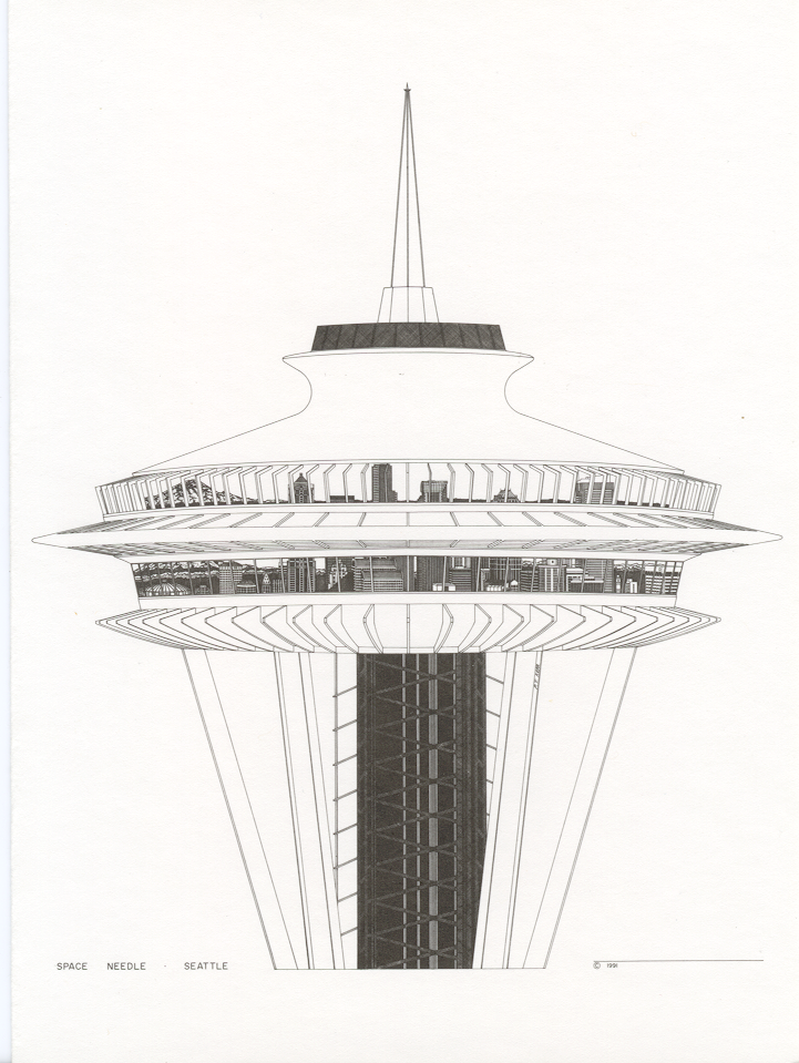 Patrick T Kerr Architectural Drawings Top Of The Space Needle Space Needle Architecture Drawing Space Needle Seattle