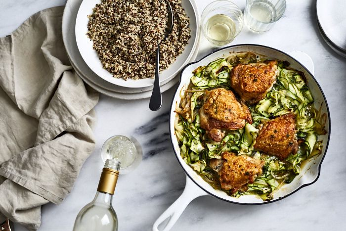 Crispy Chicken Thighs over Melted Zucchini images
