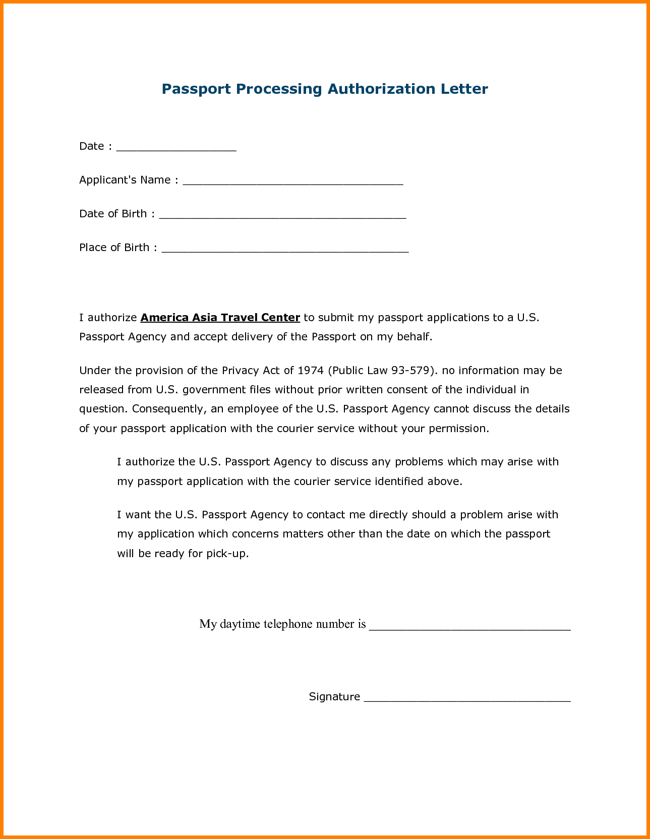 authorization letter for passport purchase letterg office standard third party authorisation