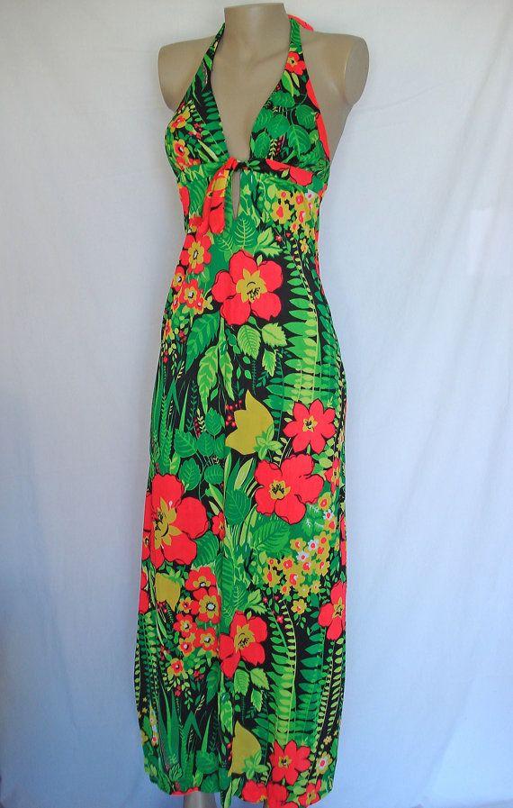 Vtg 60s Hawaiian Barkcloth Floral Dress Sarong Wrap Skirt Resort Beach Tiki Boho