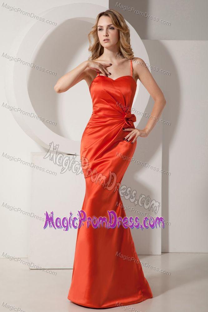 Modest Mermaid Halter Orange Red Long Prom Dresses for Ladies in ...