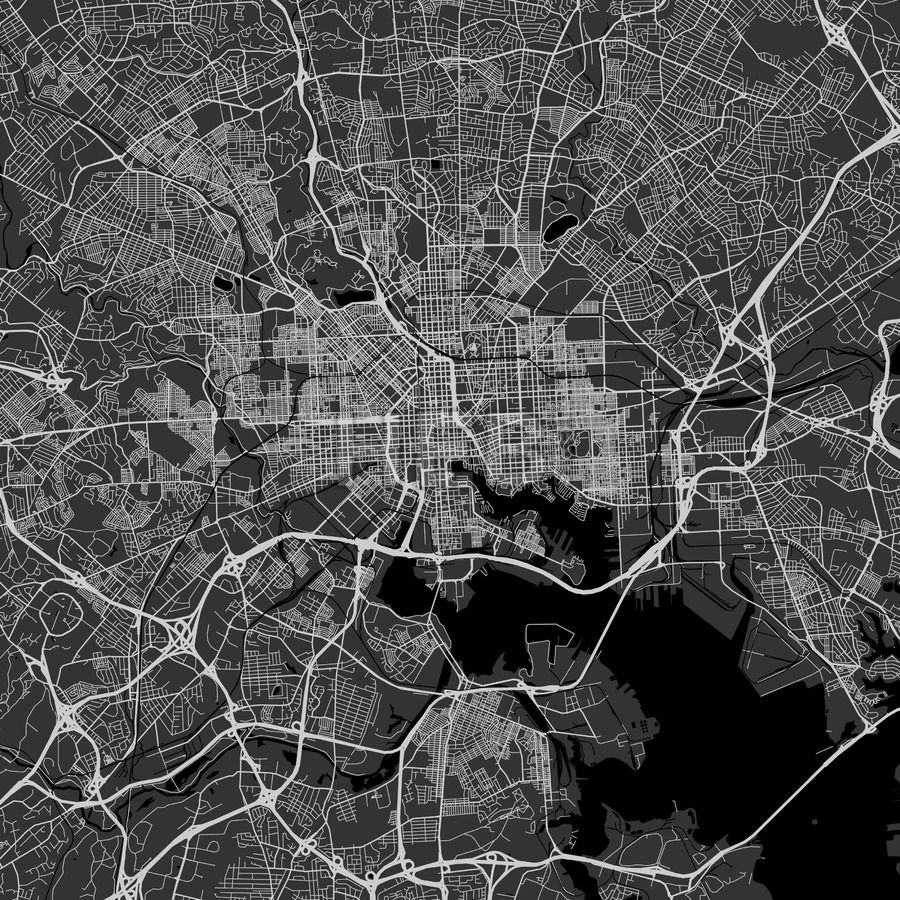 Baltimore downtown and surroundings Map in dark