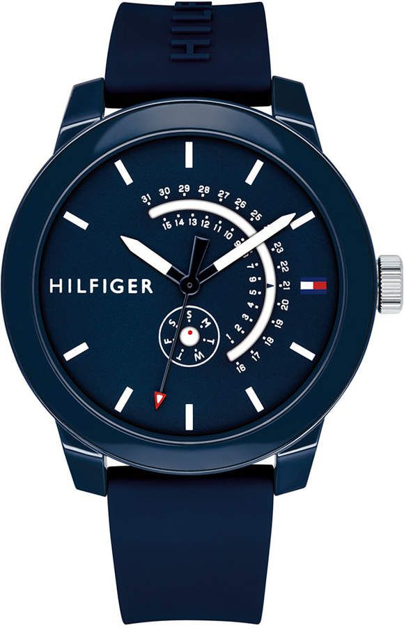 c15cf1d0224 Tommy Hilfiger Men s Navy Silicone Strap Watch 44mm Created for Macy s