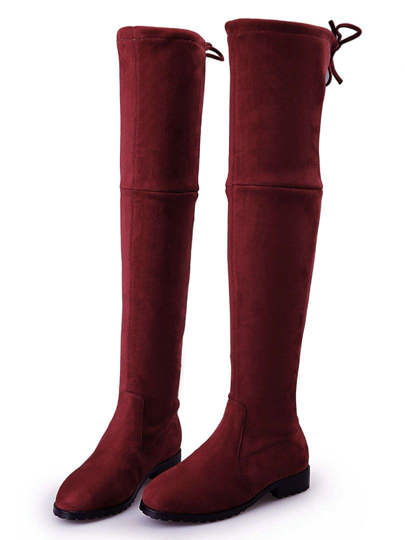 b70b41be968 Burgundy Suedette Pointed Laced Back Over The Knee Flat Boots ...