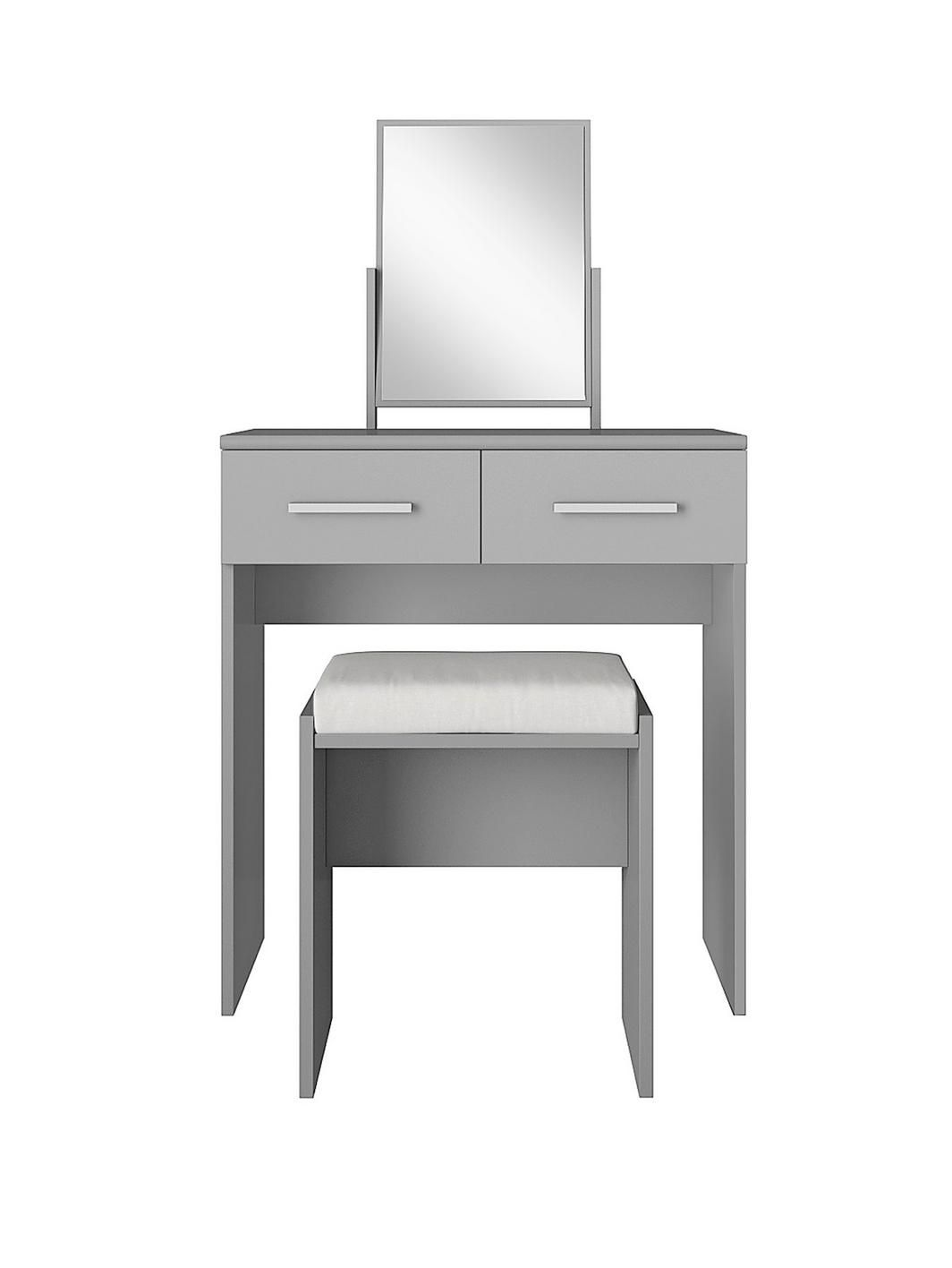 Prague gloss dressing table stool and mirror set mirror set