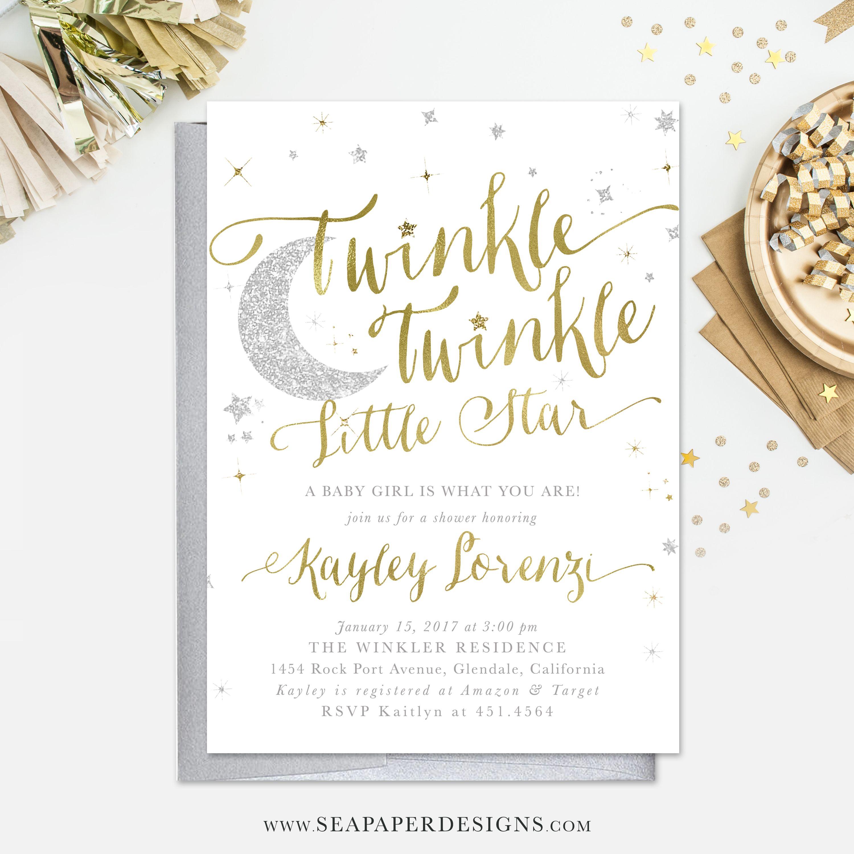 Twinkle Twinkle Little Star Boy or Girl Baby Shower Invitation ...