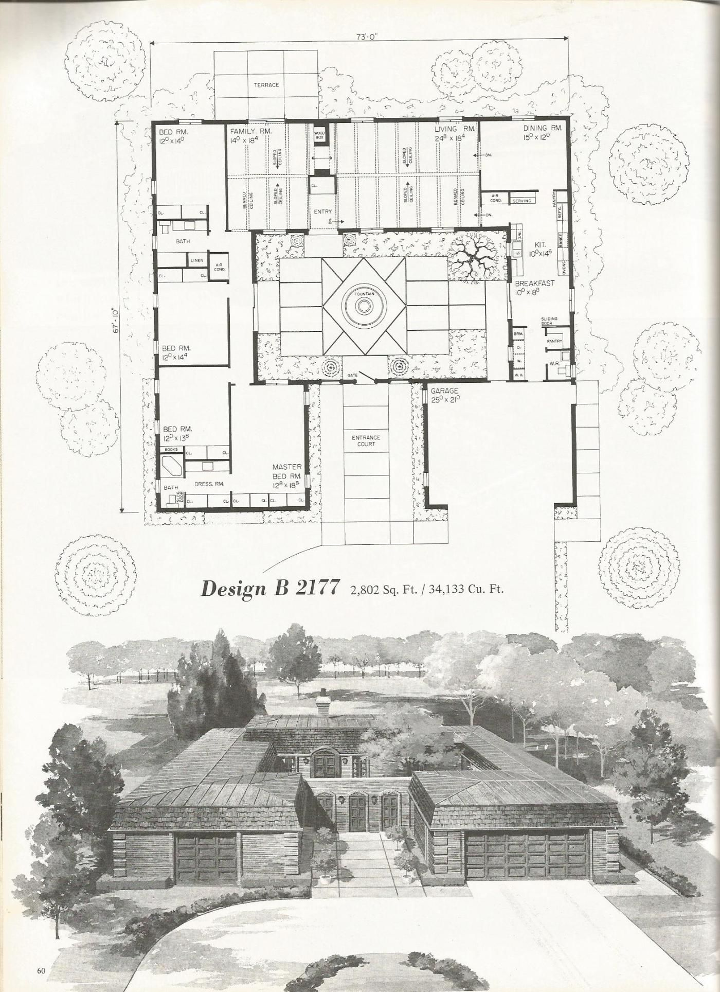 Vintage House Plans, Mid Century Homes, Luxurious Vintage Home Plans