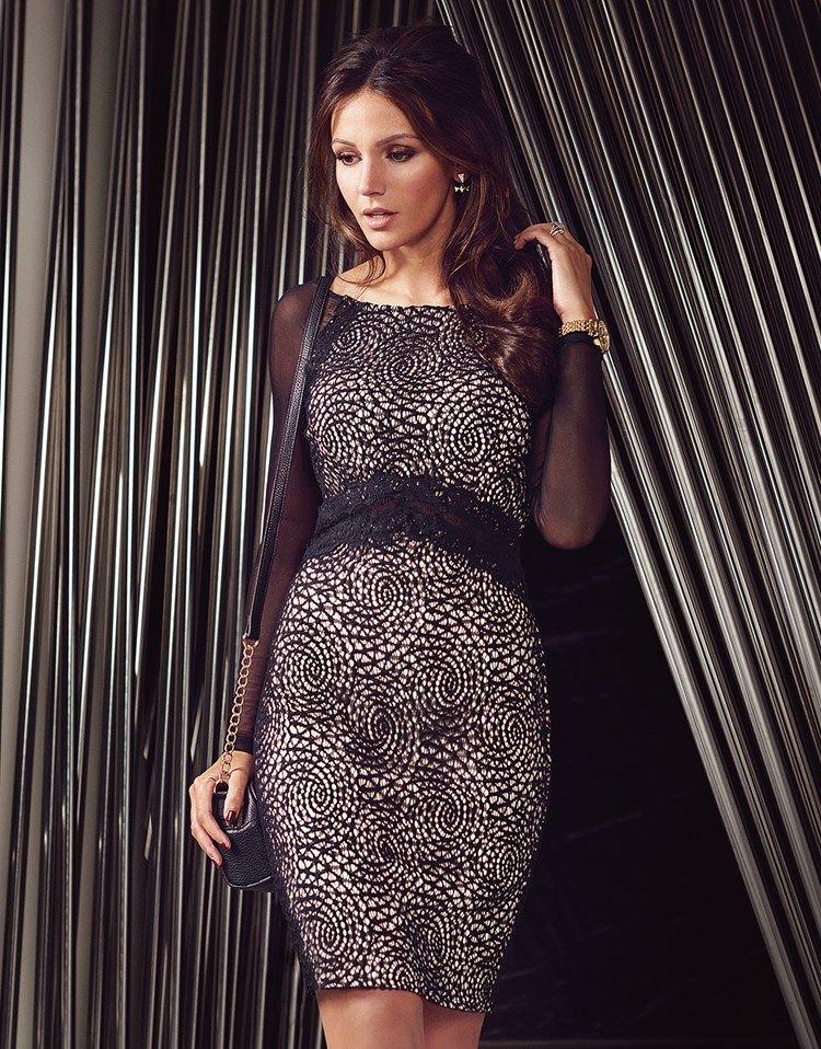 Michelle Keegan Sheer Lace Midi Dress  2a72f1a13