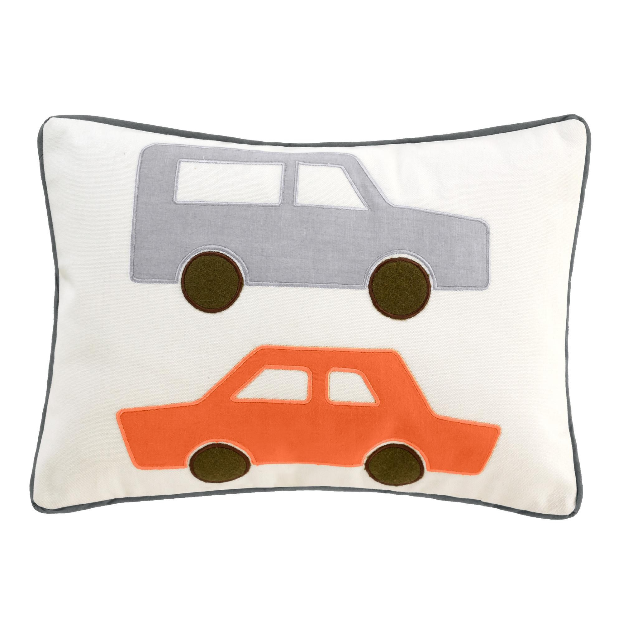 Studio Faves: Baby Shower Gifts. Cars Skyline Boudoir Pillow | Complete the room with a coordinating boudoir pillow.