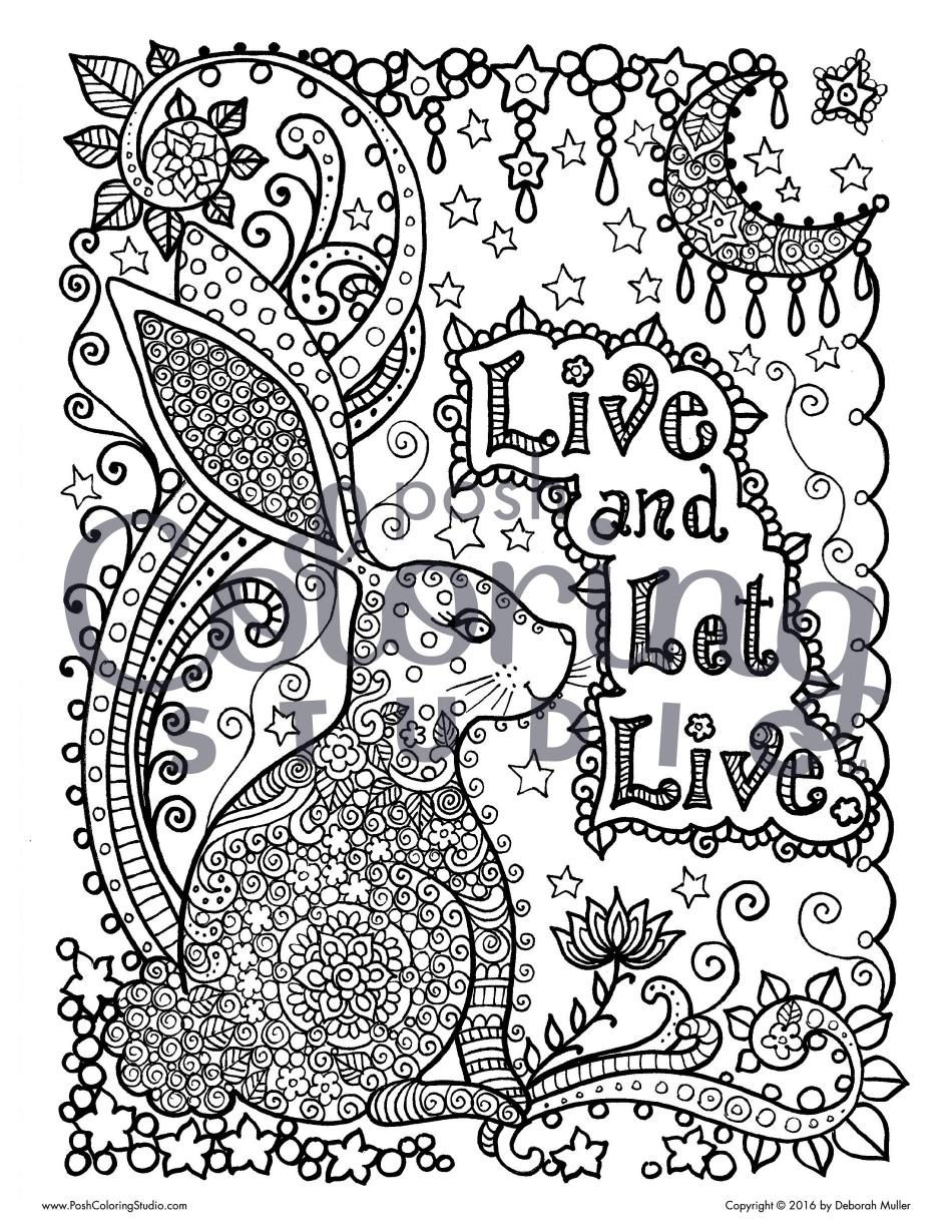 Lotus designs coloring book - Start Coloring The Live And Let Live Coloring Page By Deborah Muller Featuring Details Such As