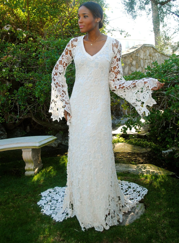 Boho Wedding Dress Bell Sleeve Simple By Dreamersandlovers