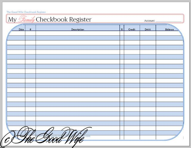 The Good Wife New Budget Worksheet  Checkbook Registers  Margo