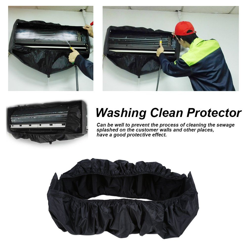 Air Conditioner Cleaning Waterproof Cover Black Household Clean Protector Tools With Wa Bedroom Air Conditioner Clean Air Conditioner Air Conditioning Cleaning