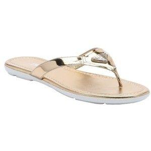 Prada Sport gold leather thong sandals