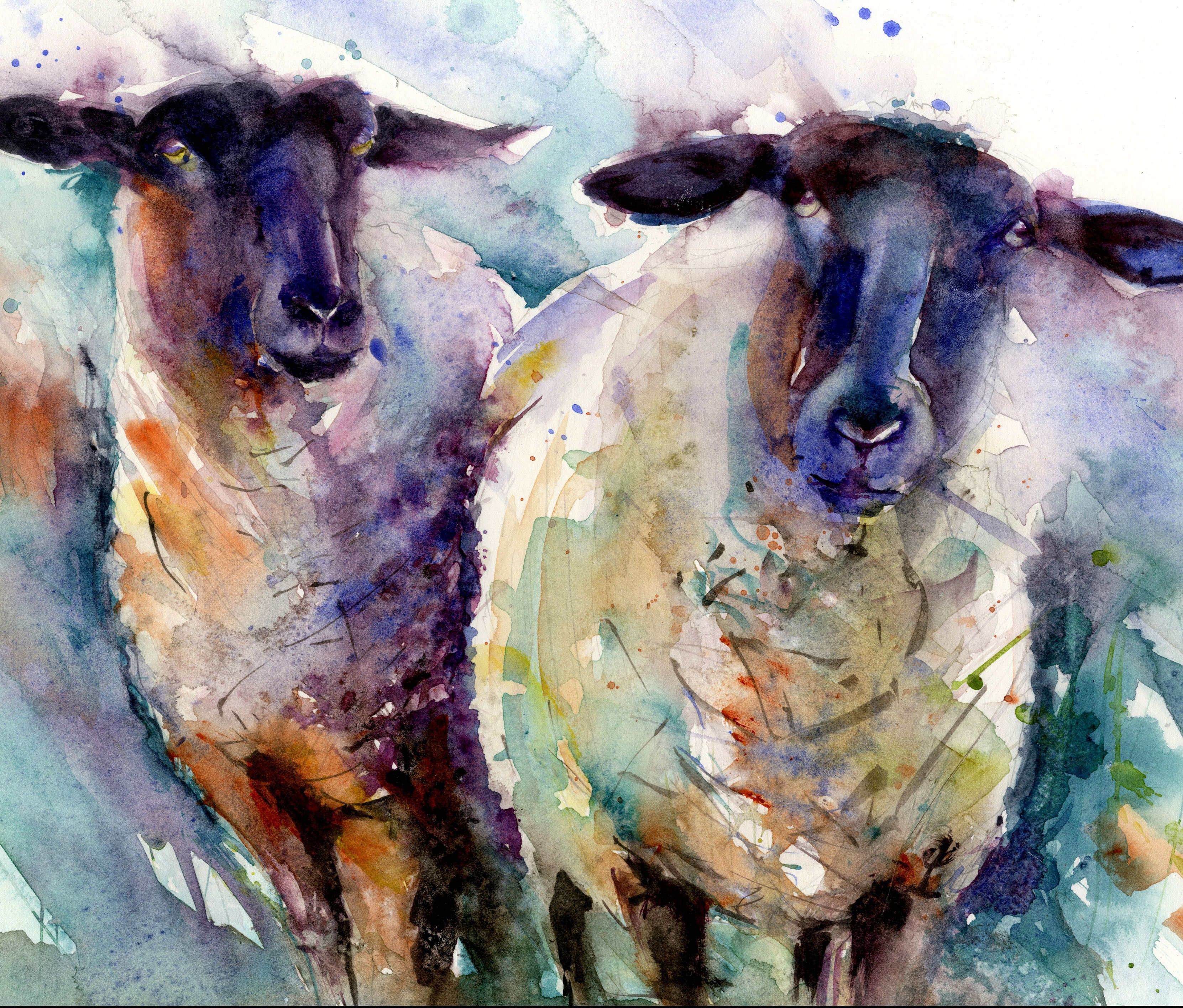 LIMITED EDITION PRINT of original 2 ewes sheep painting