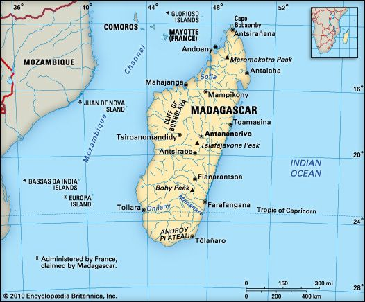 Madagascar is an island country located off the southeastern coast