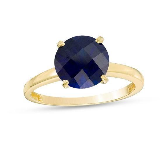 #Valentines #AdoreWe #Zales - #Zales 8.0mm Lab-Created Blue Sapphire Solitaire Ring in 10K Gold - AdoreWe.com