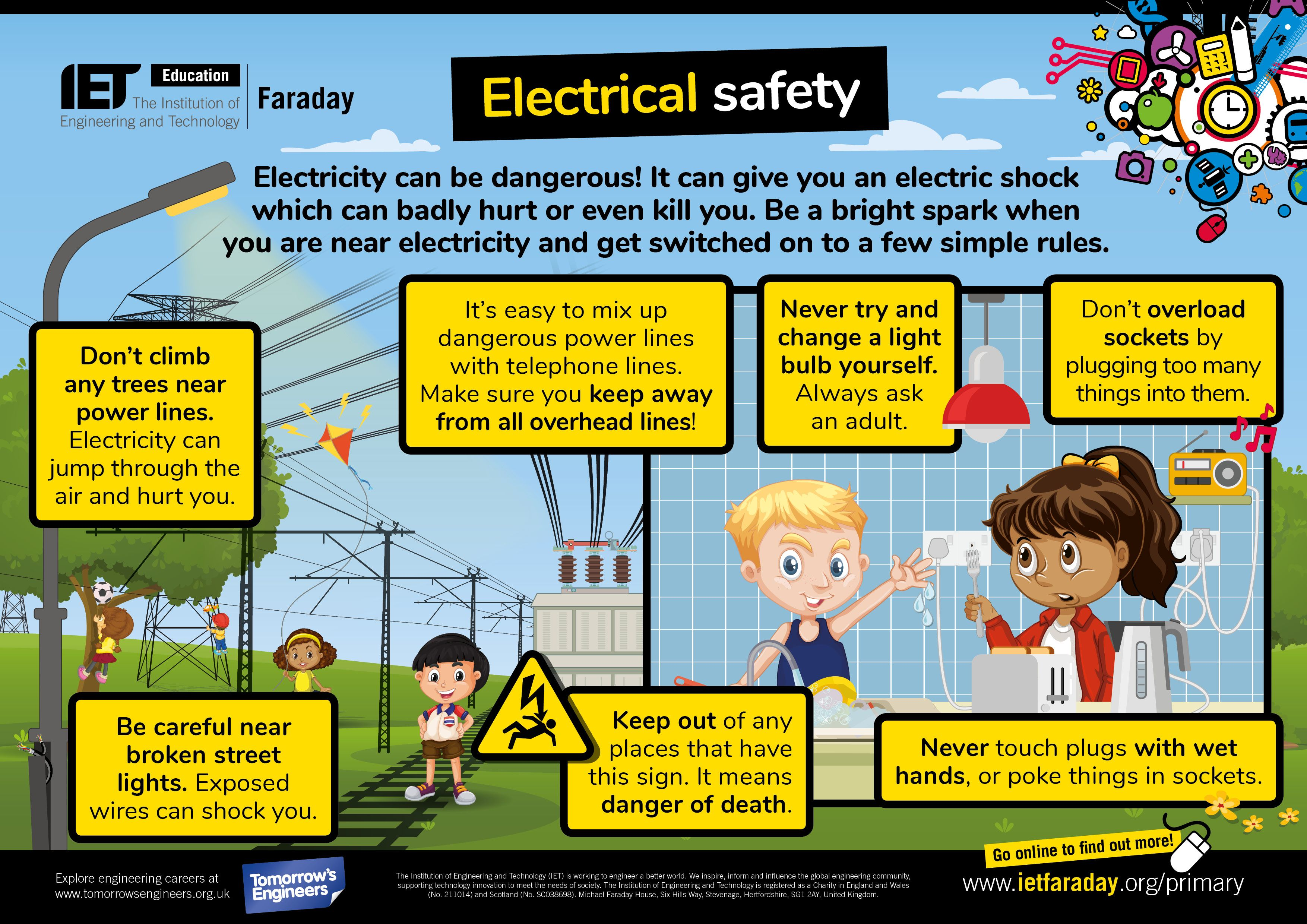 Primary STEM poster about electrical safety. Available to