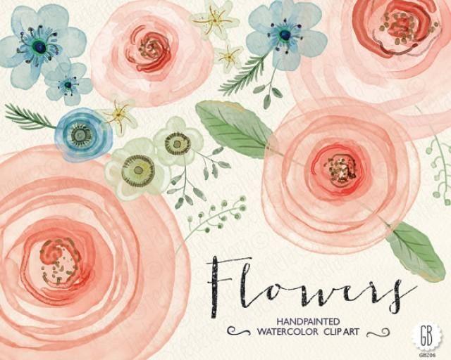 Watercolor Flowers Hand Painted Ranunculus Roses Hellebore