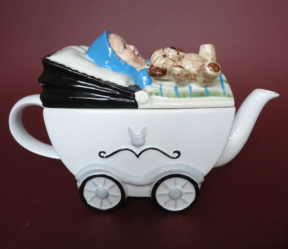 Teapot Novelty Baby With Teddy In A Pram Price Kensington