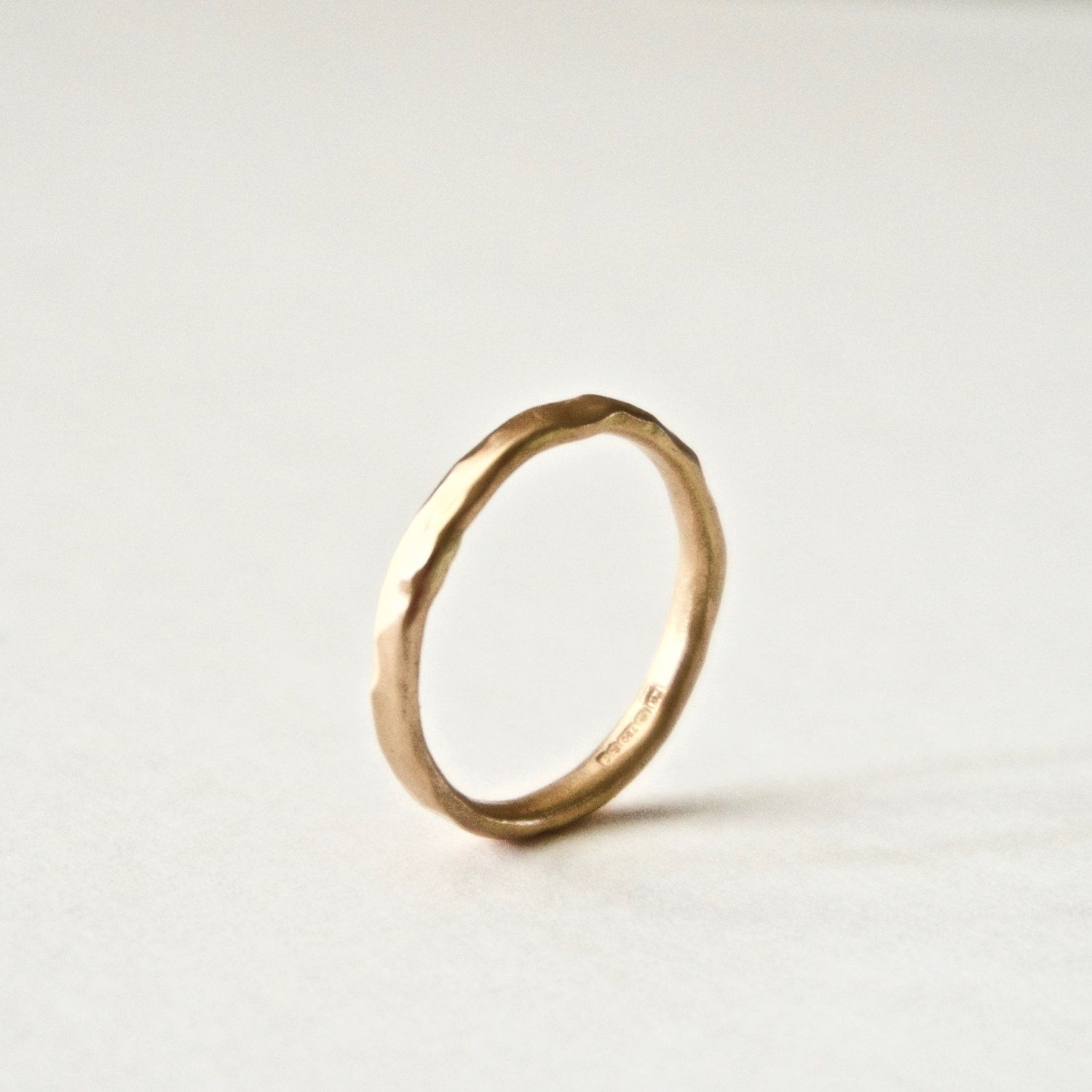 Rose Gold Wedding Band Organic Ring 18 Carat Gold Molten