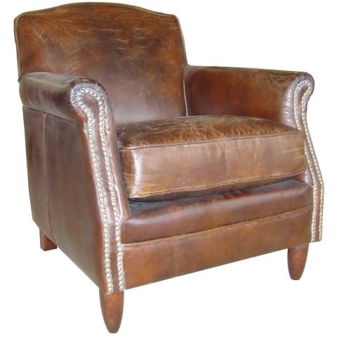 Exceptionnel Vintage Leather Studded Armchair A