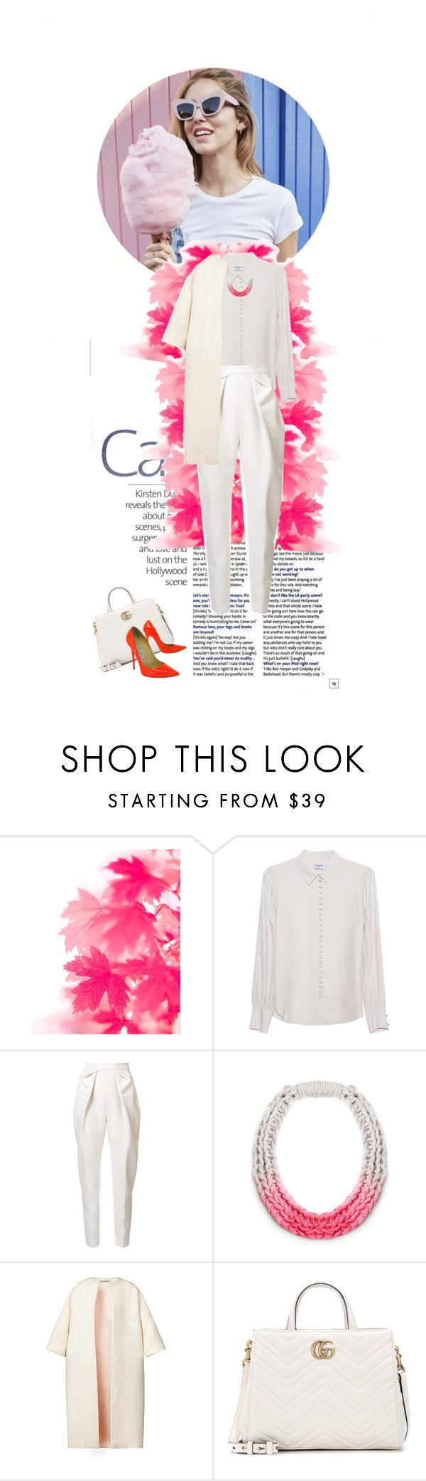 """""""All White"""" by doris-knezevic ❤ liked on Polyvore featuring Frame Denim, Delpozo, Saloukee, Esme Vie, Gucci and Jimmy Choo"""
