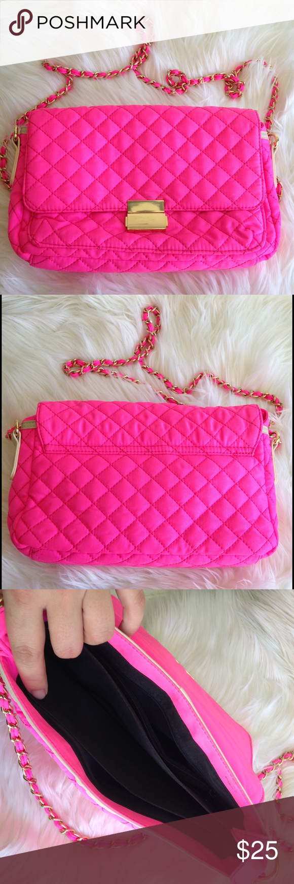"""FOREVER 21 quilted pink bag with chain FOREVER 21 quilted pink bag with chain.  She'll: nylon, lining: polyester.  Has multiple separations inside. Gold detail. Height 7"""", length 10.5"""", width 3"""", chain 25"""".  Small stain on the inside of the flop ( see last pic). Good condition, no rips.  Best offer. Forever 21 Bags Shoulder Bags"""