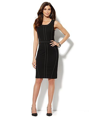 Shop 7th Avenue Suiting Collection - Topstitch Sheath Dress . Find your perfect size online at the best price at New York & Company.