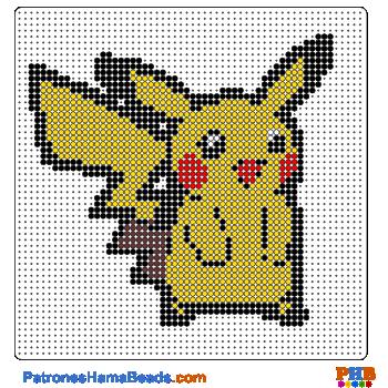 Pikachu plantilla hama bead. Descarga una amplia gama de patrones en formato PDF en www.patroneshamabeads.com