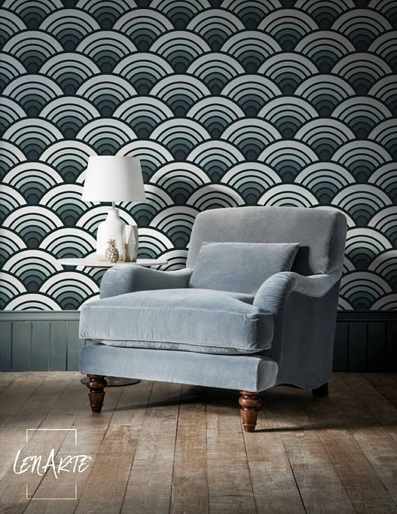Ombre Scallop Wallpaper Home Decor Removable Wallpaper