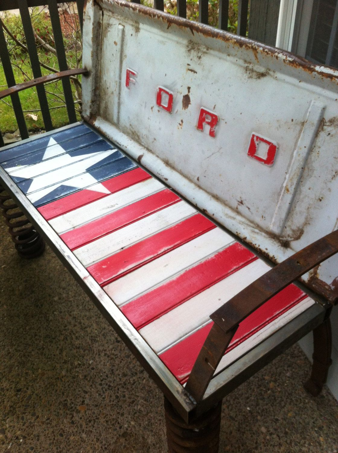 Rusty Old Car Parts Patriotic Bench | Bench, Cars and Etsy