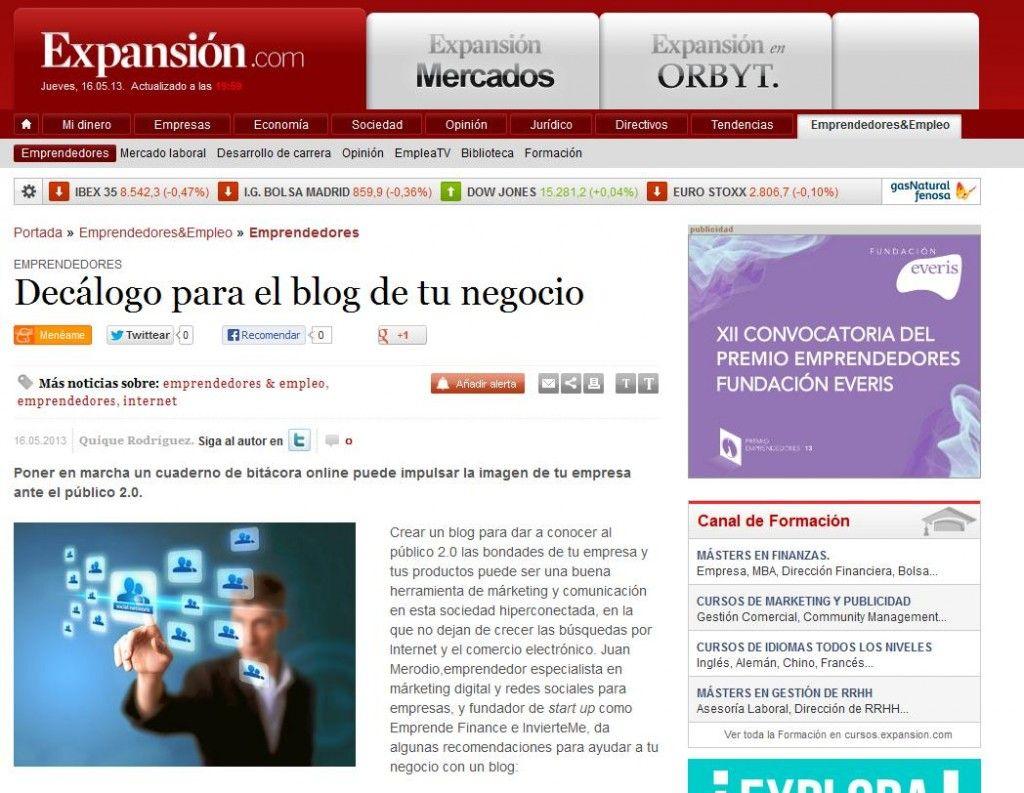 Artículo Decálogo Para El Blog De Tu Negocio Juan Merodio Desarrollo De Carrera Blog Decalogo