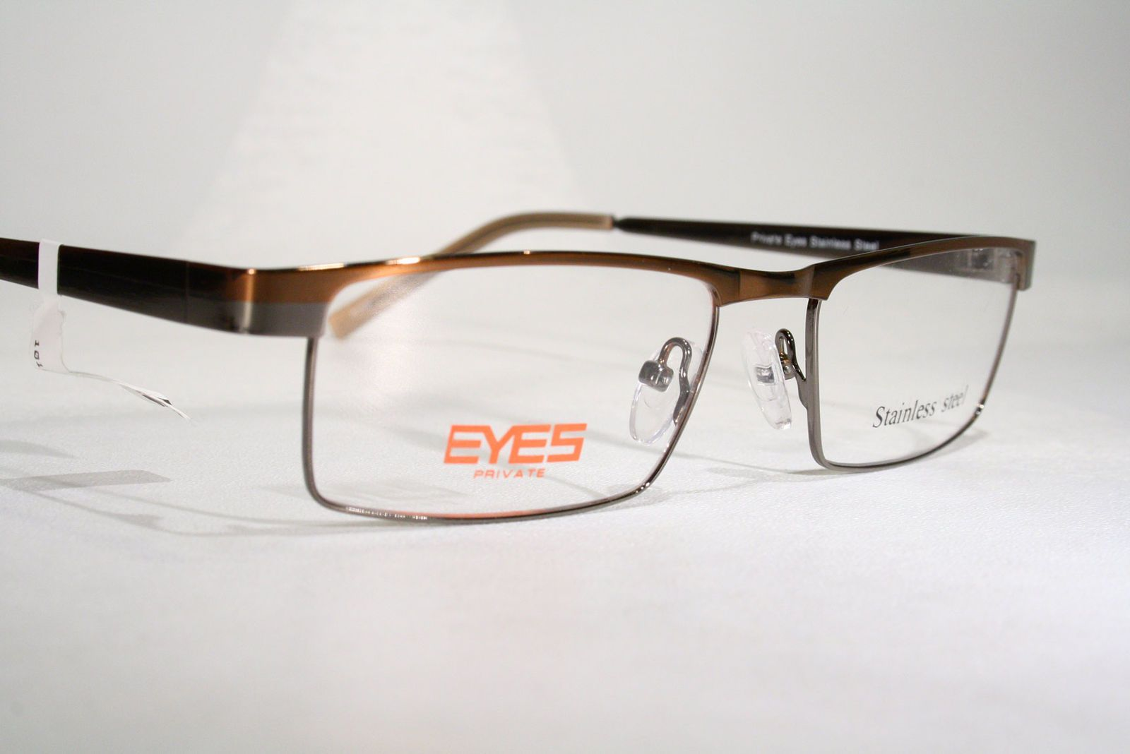 24152554ef New PRIVATE EYES Men s Clubmaster Style Dual Tone Polished Stainless Steel  Glasses Eyeglass Frames   eBay (RipVanW)
