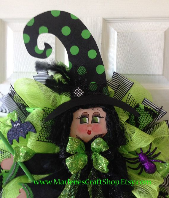 Fancy Witch with Balck hair and emerald green by MarlenesCraftShop