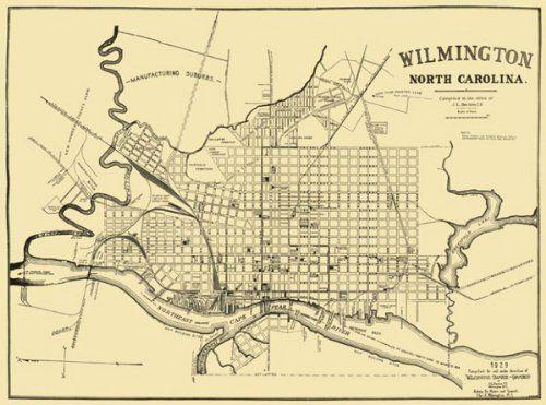 Historic City Maps - WILMINGTON NORTH CAROLINA (NC) STREET MAP 1929 on
