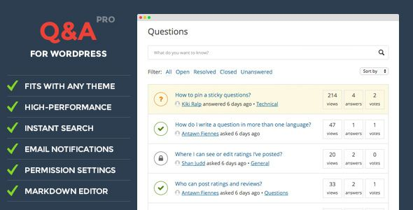 DW Question \ Answer Pro v113 WordPress Plugin Web graphics - wordpress resume theme