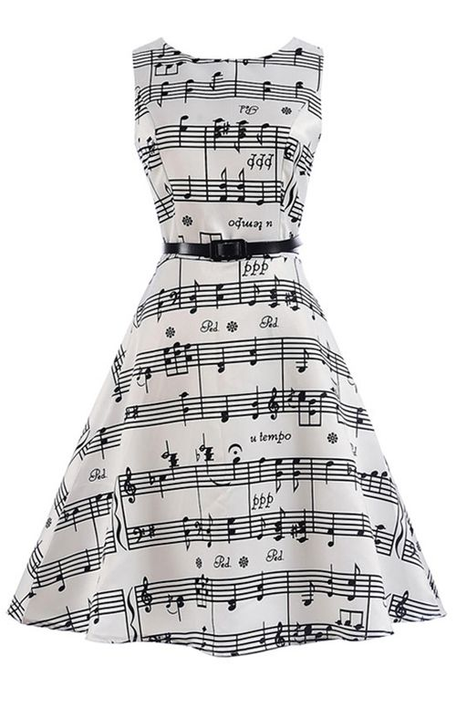 93200dc2a68d Music Note Party Swing Dress Vintage Dresses Online, Cheap Dresses Online,  Cute Cheap Dresses