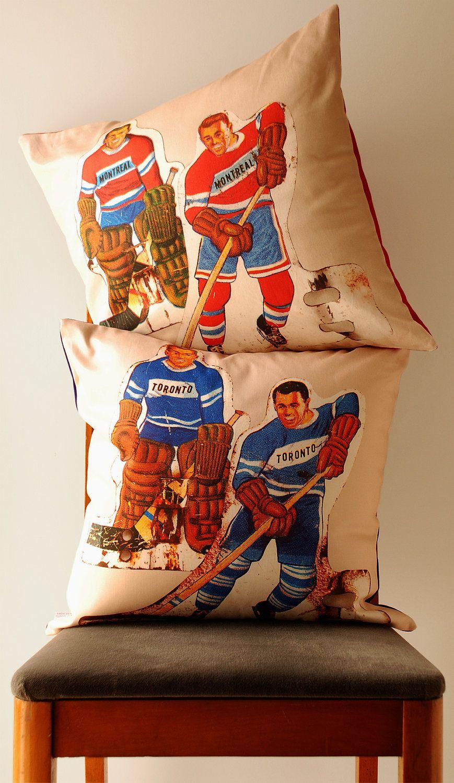 Vintage table hockey - Vintage Montreal V Toronto Table Hockey Players Pillow Covers By Avril Loreti Via Etsy