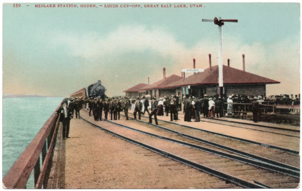 Vintage Postcard Midlake Train Station Ogden Salt Lake Utah People Railroad DB | eBay