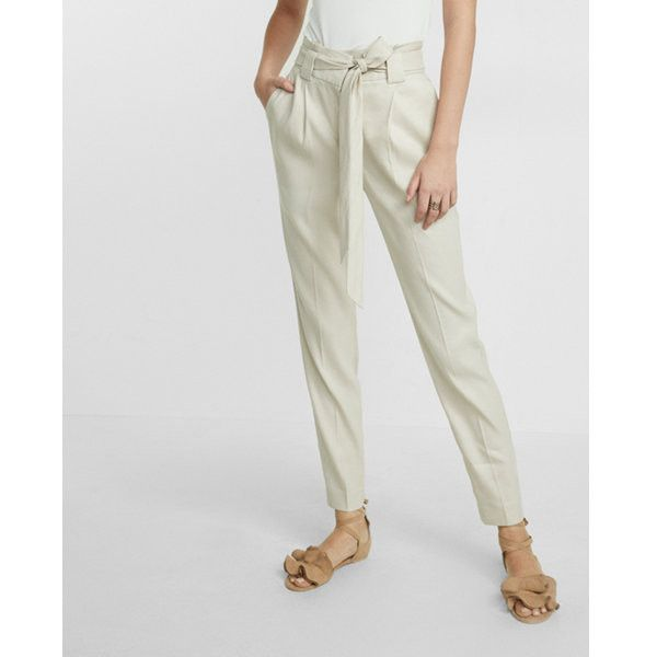 buying new big discount affordable price Express Linen Blend Belted Ankle Pant ($35) ❤ liked on ...
