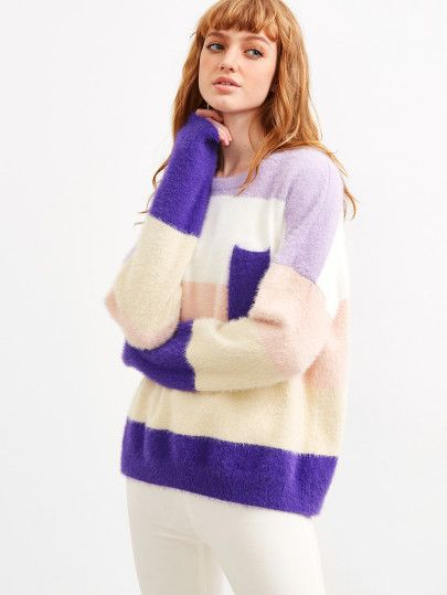 Color Block Drop Shoulder Mohair Sweater With Pocket