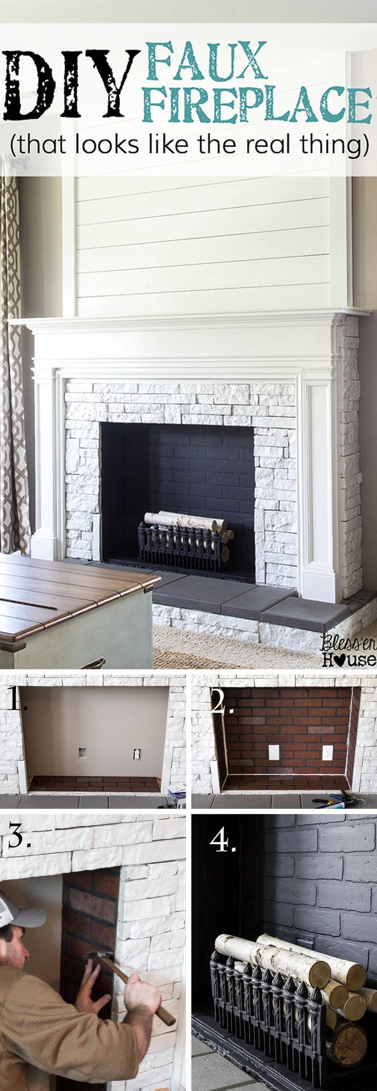 A Mock Fireplace Faux Real! DIY Home Decor and Crafts