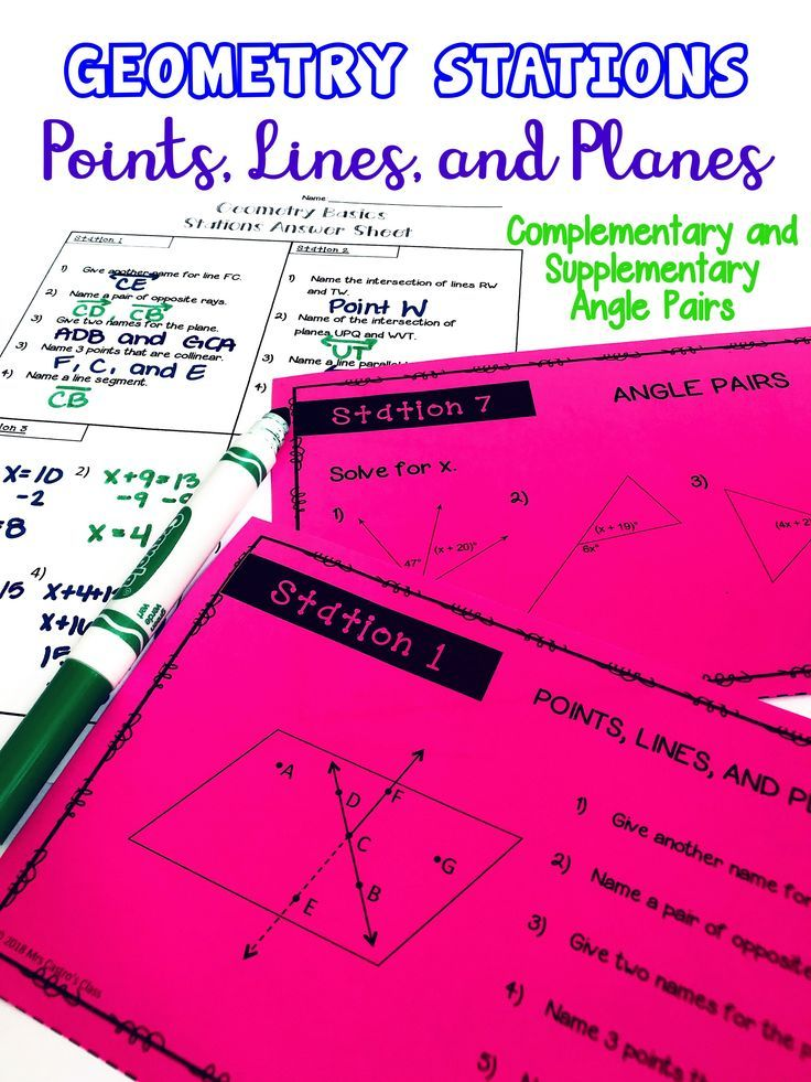 Geometry Basics activity including points, lines, and