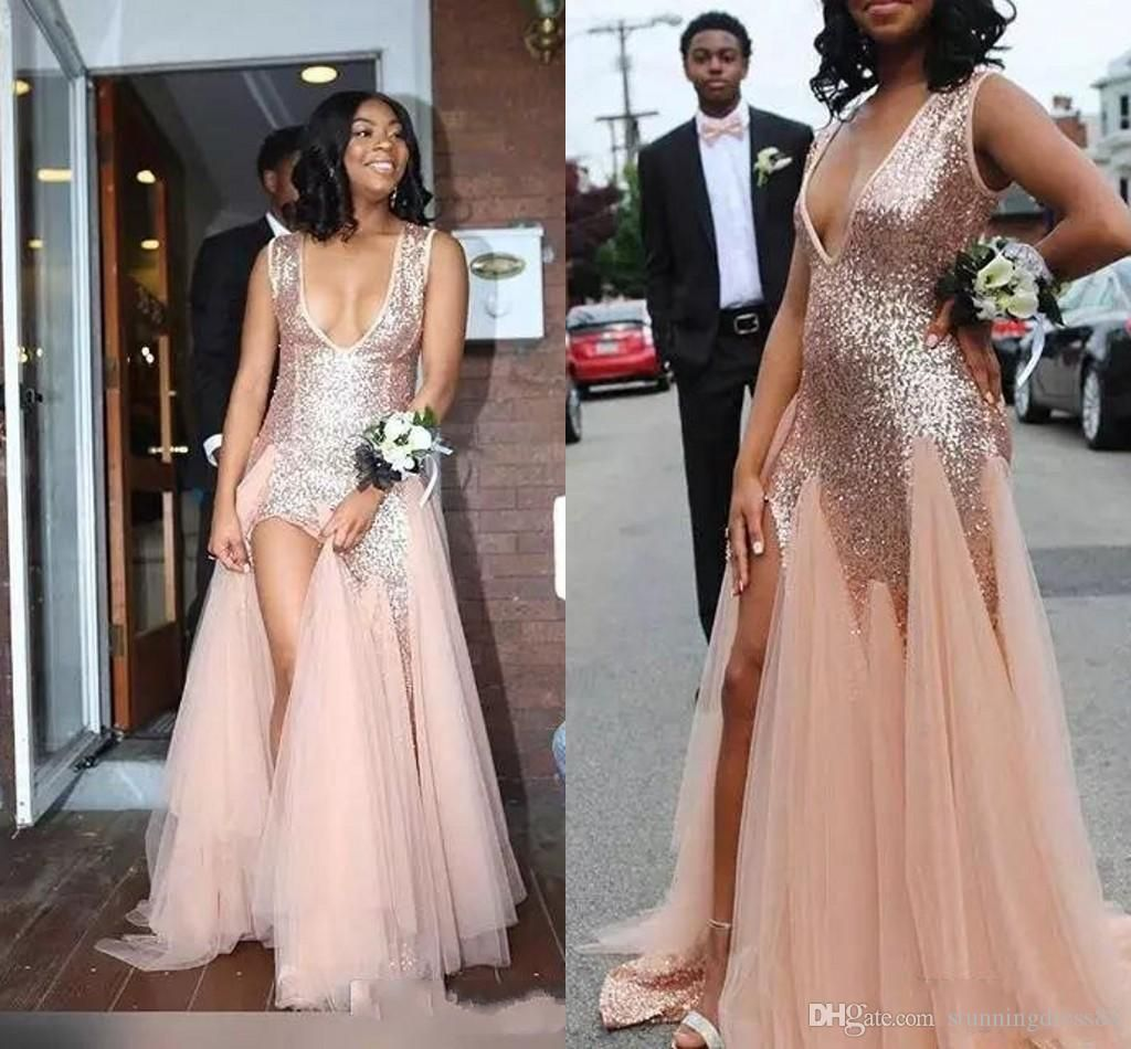 Amazing Rose Gold Sequins South African 2021 Mermaid Prom Bridesmaid Dresses Mermaid Deep V Neck Backless Formal Pageant Dress Cheap New Beautiful Prom Dress Be Mermaid Bridesmaid Dresses Beautiful Prom Dresses