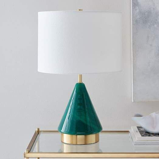 West Elm Metalized Glass Table Lamp Usb Small Green