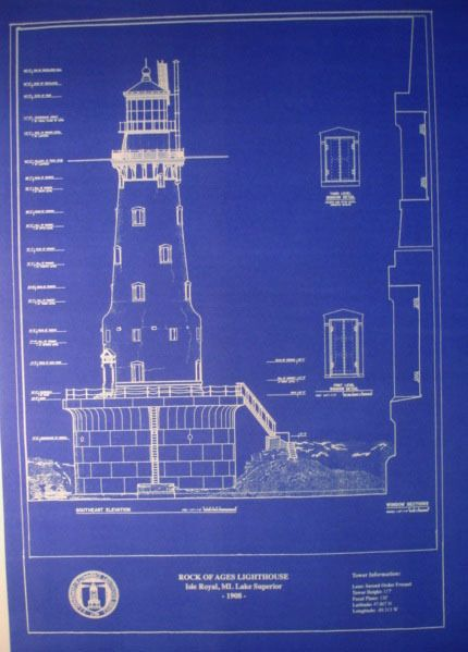 Michigan lighthouse rock of ages 117 feet tall 1908 blueprint michigan lighthouse rock of ages 117 feet tall 1908 blueprint drawing malvernweather Image collections