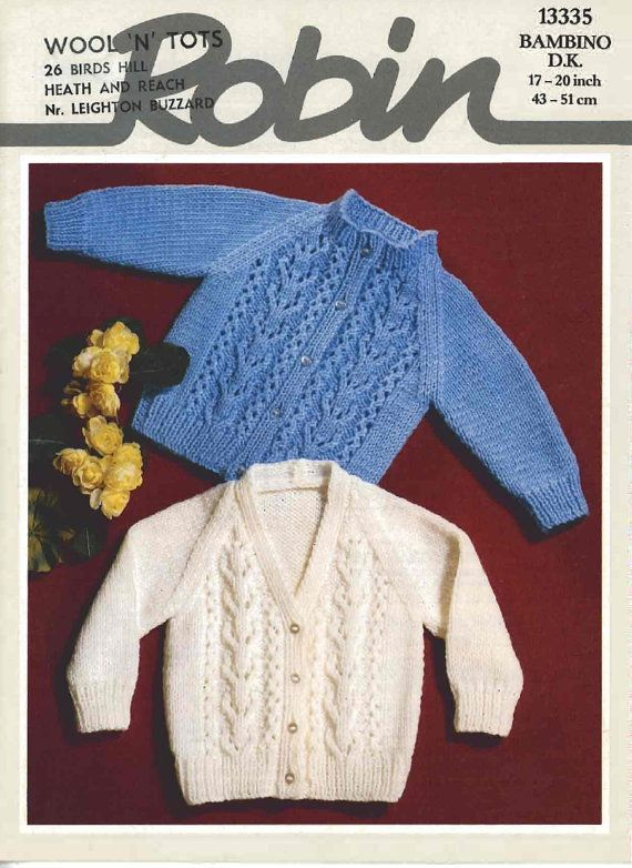 Vintage PDF Baby Knitting Pattern Robin 13335 by ...