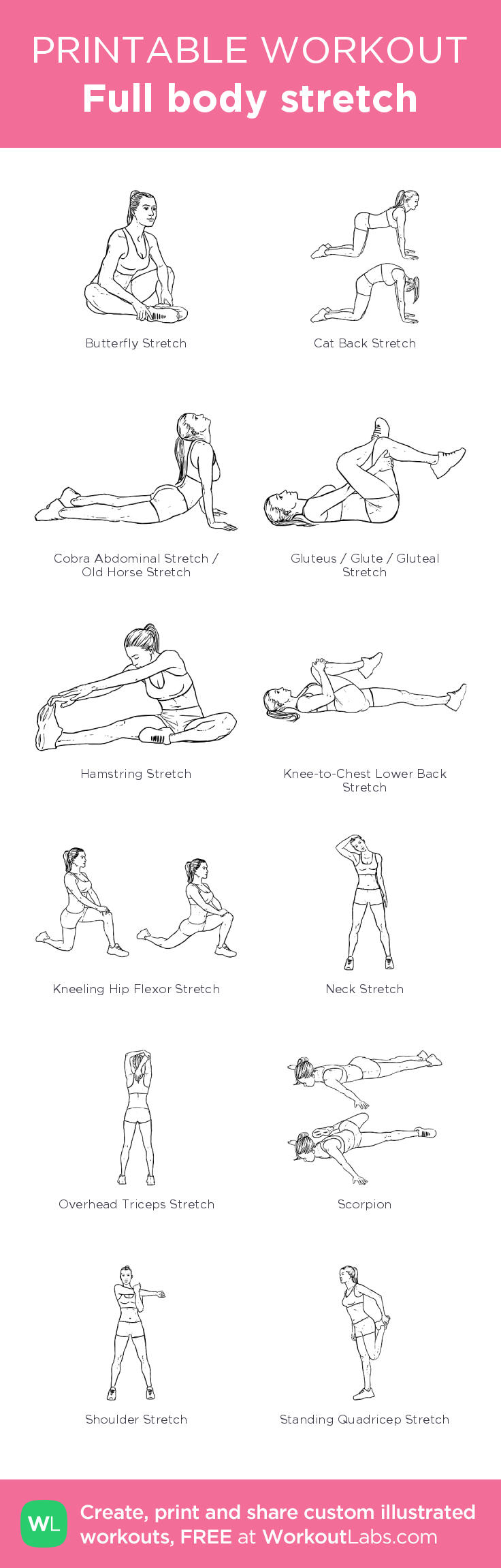 Full body stretch created at WorkoutLabs.com • Click through on mobile or customize and save as PDF at http://workoutlabs.com/s/fp4TN #mobileworkout #customworkout